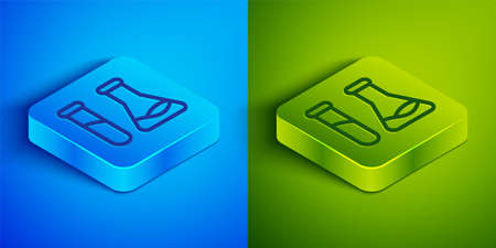 Isometric line Test tube and flask - chemical laboratory test icon isolated on blue and green background. Laboratory glassware sign. Square button. Vector Illustration. 向量圖像