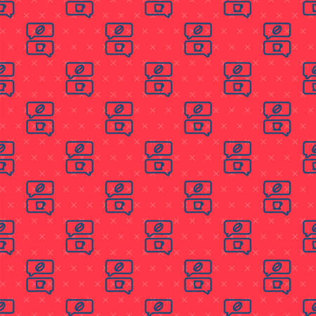 Blue line Coffee and conversation icon isolated seamless pattern on red background. Coffee talk. Speech bubbles chat. Vector Illustration.