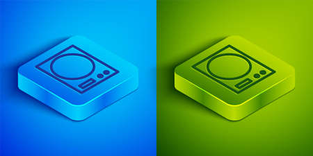 Isometric line Electronic scales icon isolated on blue and green background. Weight measure equipment. Square button. Vector Illustration. 矢量图像