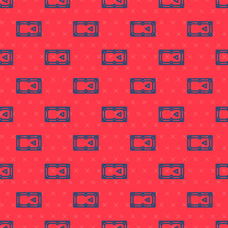 Blue line Billiard table icon isolated seamless pattern on red background. Pool table. Vector Illustration