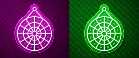 Glowing neon line Classic dart board and arrow icon isolated on purple and green background. Dartboard sign. Game concept. Vector Illustration Ilustrace