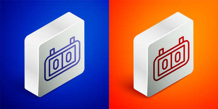 Isometric line Sport mechanical scoreboard and result display icon isolated on blue and orange background. Silver square button. Vector Illustration