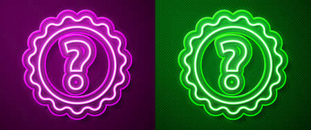 Glowing neon line Question mark icon isolated on purple and green background. FAQ sign. Copy files, chat speech bubble and chart. Vector Illustration. Иллюстрация
