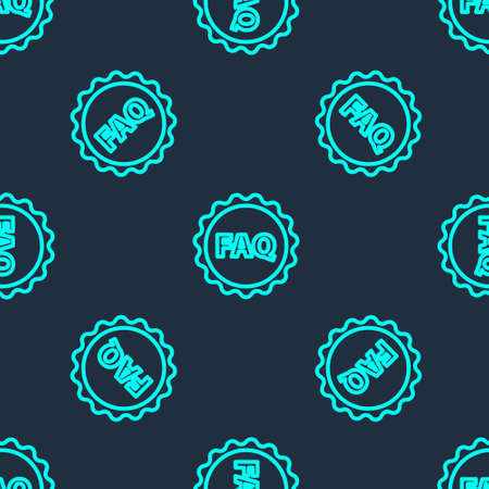 Green line Label with text FAQ information icon isolated seamless pattern on blue background. Circle button with text FAQ. Vector Illustration