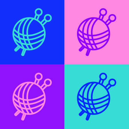 Pop art line Yarn ball with knitting needles icon isolated on color background. Label for hand made, knitting or tailor shop. Vector Illustration.