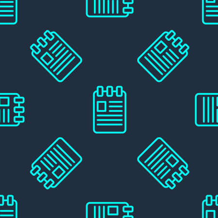 Green line Notebook icon isolated seamless pattern on blue background. Spiral notepad icon. School notebook. Writing pad. Diary for school. Vector Illustration.