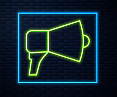 Glowing neon line Megaphone icon isolated on brick wall background. Speaker sign. Vector Illustration.