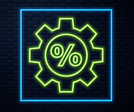 Glowing neon line Gear with percent icon isolated on brick wall background. Vector Illustration. Stock Illustratie