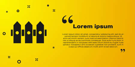 Black Garden fence wooden icon isolated on yellow background. Vector Illustration
