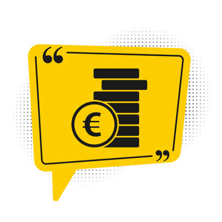 Black Coin money with euro symbol icon isolated on white background. Banking currency sign. Cash symbol. Yellow speech bubble symbol. Vector Illustration