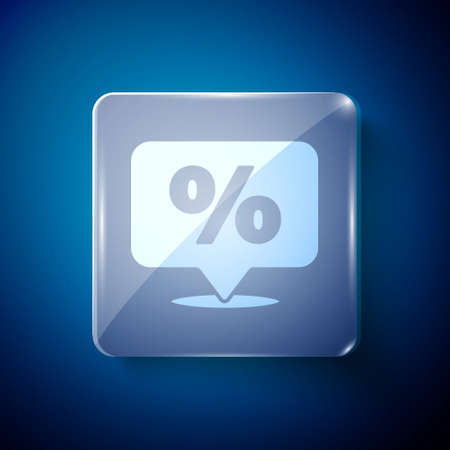 White Discount percent tag icon isolated on blue background. Shopping tag sign. Special offer sign. Discount coupons symbol. Square glass panels. Vector Illustration Stock Illustratie