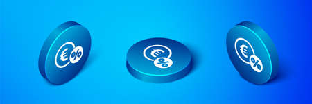 Isometric Money coin with percent icon isolated on blue background. Cash Banking currency sign. Blue circle button. Vector Illustration.