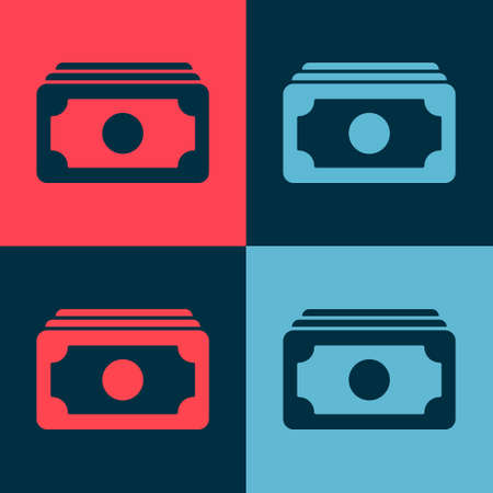 Pop art Stacks paper money cash icon isolated on color background. Money banknotes stacks. Bill currency. Vector Illustration. 向量圖像