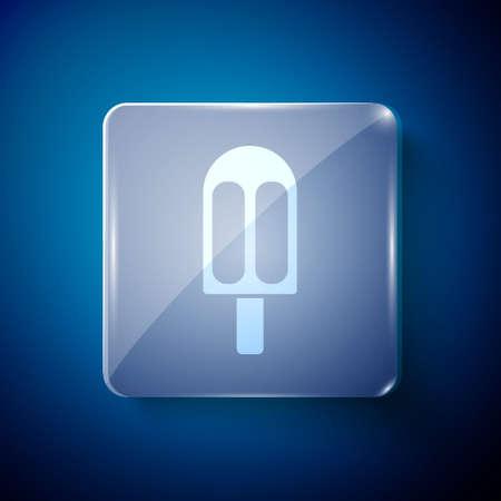 White Ice cream icon isolated on blue background. Sweet symbol. Square glass panels. Vector Illustration.