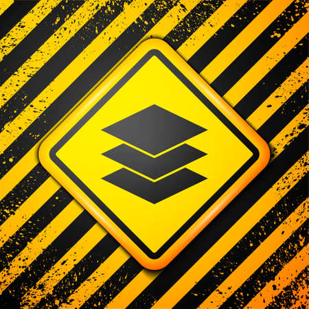 Black Layers clothing textile icon isolated on yellow background. Element of fabric features. Warning sign. Vector Illustration. Ilustração