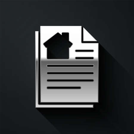 Silver House contract icon isolated on black background. Contract creation service, document formation, application form composition. Long shadow style. Vector Illustration