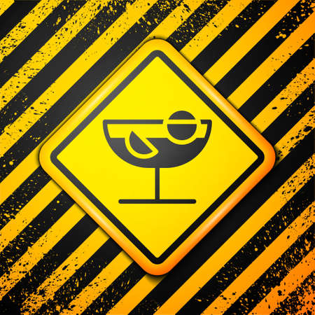 Black Cocktail icon isolated on yellow background. Warning sign. Vector Illustration Ilustrace