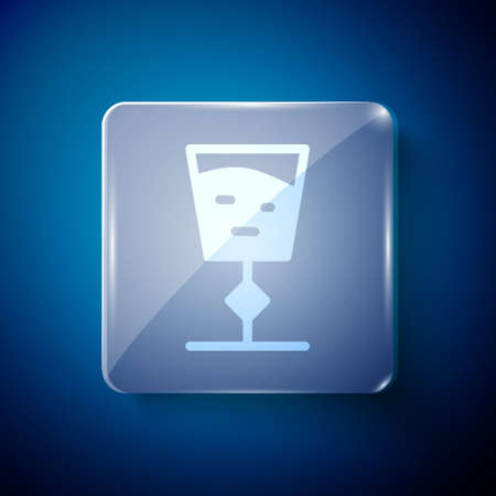 White Wine glass icon isolated on blue background. Wineglass sign. Square glass panels. Vector Illustration