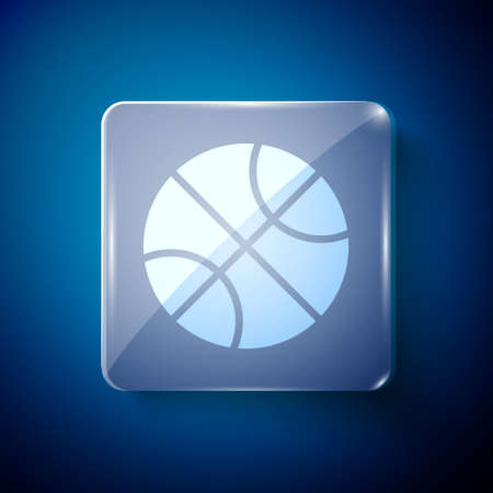 White Basketball ball icon isolated on blue background. Sport symbol. Square glass panels. Vector Illustration.