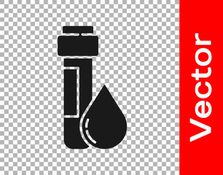 Black Test tube with water drop icon isolated on transparent background. Vector Illustration