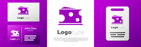 Logotype Cheese icon isolated on white background. Logo design template element. Vector Illustration