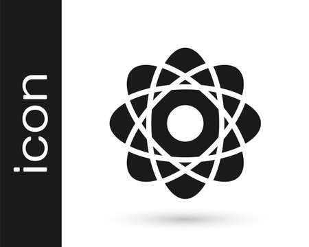 Grey Atom icon isolated on white background. Symbol of science, education, nuclear physics, scientific research. Vector Illustration Illusztráció
