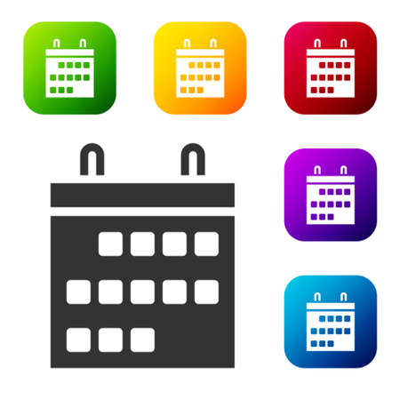 Black Calendar icon isolated on white background. Event reminder symbol. Set icons in color square buttons. Vector Illustration