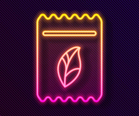 Glowing neon line Pack full of seeds of a specific plant icon isolated on black background. Vector Illustration.