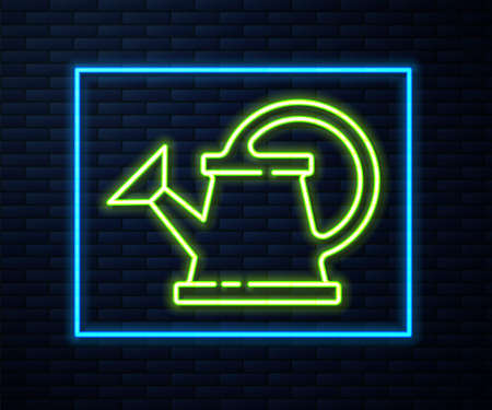 Glowing neon line Watering can icon isolated on brick wall background. Irrigation symbol. Vector Illustration.