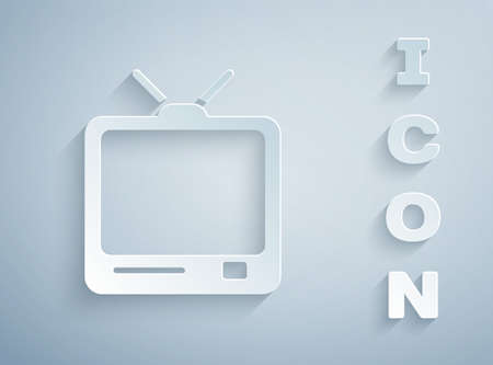 Paper cut Retro tv icon isolated on grey background. Television sign. Paper art style. Vector Illustration 向量圖像