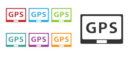 Black Gps device with map icon isolated on white background. Set icons colorful. Vector Illustration Ilustrace