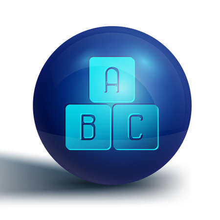 Blue ABC blocks icon isolated on white background. Alphabet cubes with letters A,B,C. Blue circle button. Vector Illustration Ilustração