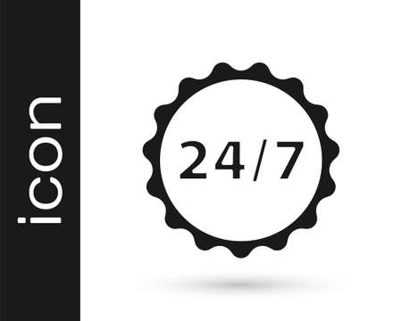 Grey Clock 24 hours icon isolated on white background. All day cyclic icon. 24 hours service symbol. Vector Illustration Ilustrace