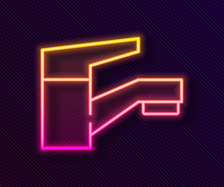 Glowing neon line Water tap icon isolated on black background. Vector Illustration