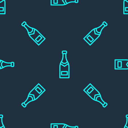 Green line Champagne bottle icon isolated seamless pattern on blue background. Vector Illustration.