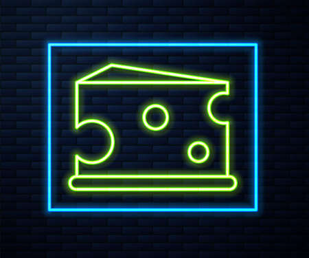 Glowing neon line Cheese icon isolated on brick wall background. Vector Illustration Иллюстрация