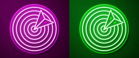Glowing neon line Target sport icon isolated on purple and green background. Clean target with numbers for shooting range or shooting. Vector Illustration.