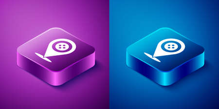 Isometric Location tailor shop icon isolated on blue and purple background. Square button. Vector Illustration