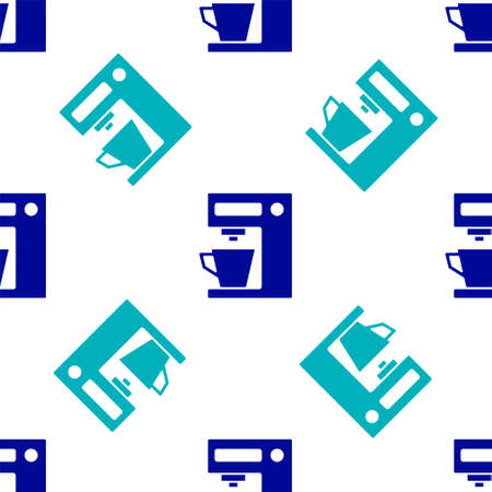 Blue Coffee machine icon isolated seamless pattern on white background. Vector Illustration