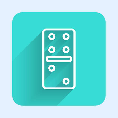 White line Domino icon isolated with long shadow. Green square button. Vector Illustration