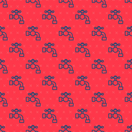 Blue line Water tap icon isolated seamless pattern on red background. Vector Illustration.