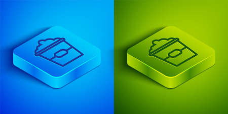 Isometric line Popcorn in cardboard box icon isolated on blue and green background. Popcorn bucket box. Square button. Vector Illustration