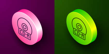 Isometric line CD or DVD disk icon isolated on purple and green background. Compact disc sign. Circle button. Vector Illustration