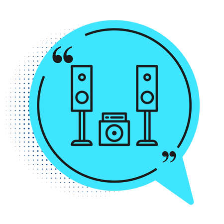 Black line Home stereo with two speaker s icon isolated on white background. Music system. Blue speech bubble symbol. Vector Illustration Illusztráció