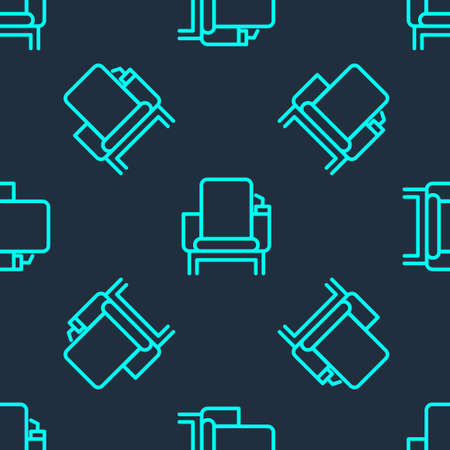 Green line Cinema chair icon isolated seamless pattern on blue background. Vector Illustration