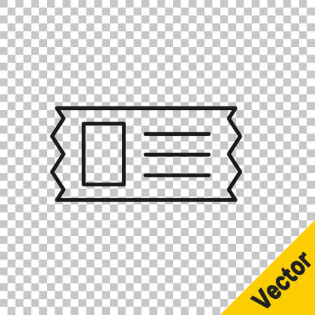 Black line Cinema ticket icon isolated on transparent background. Vector Illustration