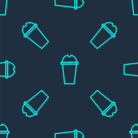 Green line Milkshake icon isolated seamless pattern on blue background. Plastic cup with lid and straw. Vector Illustration Ilustrace