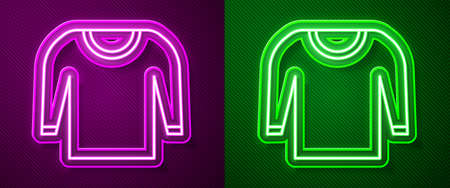 Glowing neon line Sweater icon isolated on purple and green background. Pullover icon. Vector Illustration