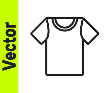 Black line T-shirt icon isolated on white background. Vector Illustration  イラスト・ベクター素材