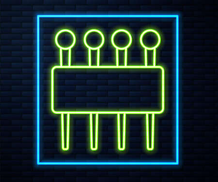 Glowing neon line Needle for sewing icon isolated on brick wall background. Tailor symbol. Textile sew up craft sign. Embroidery tool. Vector Illustration